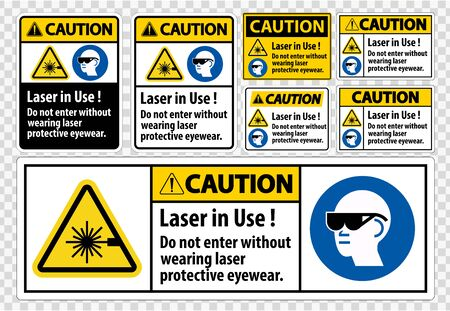 Caution PPE Safety Label,Laser In Use Do Not Enter Without Wearing Laser Protective Eyewear