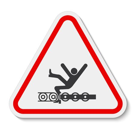 Warning Exposed Conveyor And Moving Parts Will Cause Service Injury Or Death Symbol Sign Isolate on White Background, Vector Illustration Ilustracja