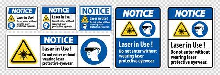 Notice Warning PPE Safety Label,Laser In Use Do Not Enter Without Wearing Laser Protective Eyewear Ilustracja
