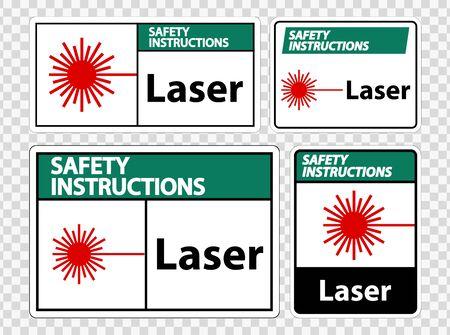 Safety Instructions Laser Symbol Sign Symbol Sign Isolate on transparent Background,Vector Illustration  イラスト・ベクター素材