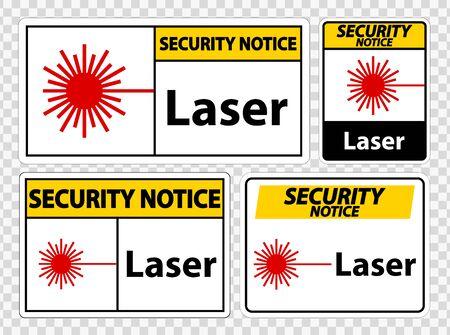 Security Notice Laser Symbol Sign Symbol Sign Isolate on transparent Background,Vector Illustration