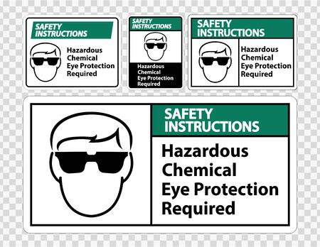 Safety Instructions Hazardous Chemical Eye Protection Required Symbol Sign Isolate on transparent Background,Vector Illustration  Stock Illustratie