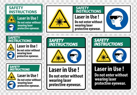 Safety Instructions PPE Safety Label,Laser In Use Do Not Enter Without Wearing Laser Protective Eyewear