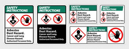 Safety Instructions Label Disease Hazard, Authorized Personnel Only Isolate on transparent Background,Vector Illustration