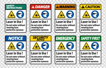 Warning PPE Safety Label,Laser In Use Do Not Enter Without Wearing Laser Protective Eyewear
