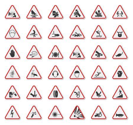 Warning Hazard Symbols labels Sign Isolate on White Background,Vector Illustration Ilustracja
