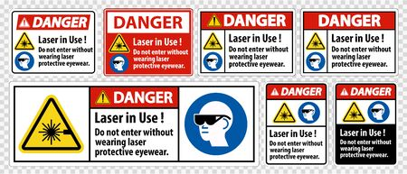 Danger PPE Safety Label,Laser In Use Do Not Enter Without Wearing Laser Protective Eyewear