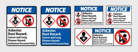 Notice Safety Label,Asbestos Dust Hazard, Cancer And Lung Disease Hazard Authorized Personnel Only Ilustracja