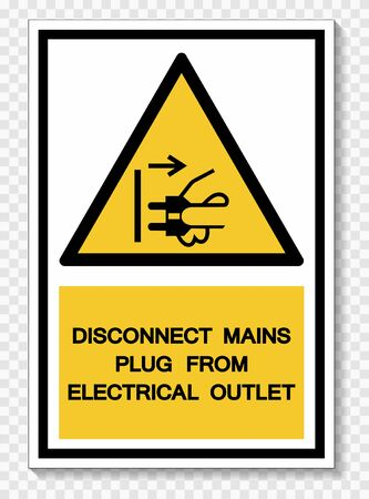 Disconnect Mains Plug From Electrical Outlet Symbol Sign Isolate On White Background,Vector Illustration EPS.10  Illusztráció