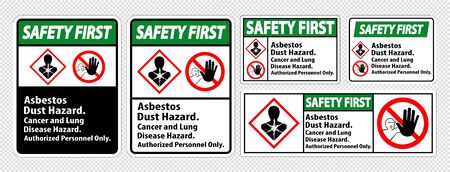 Safety First Label Disease Hazard, Authorized Personnel Only Isolate on transparent Background,Vector Illustration