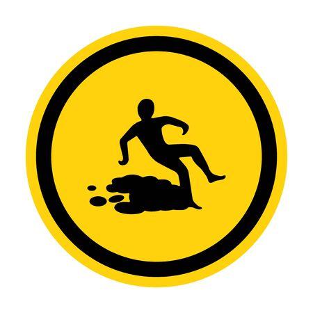 Beware Slippery Surface Symbol Isolate On White Background,Vector Illustration