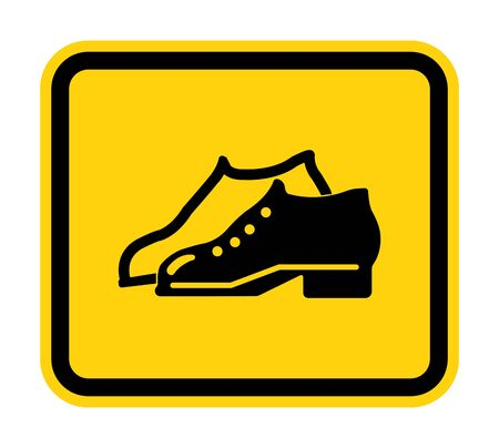 Symbol Enclosed Shoes Are Required In The Manufacturing Area sign Isolate On White Background,Vector Illustration EPS.10