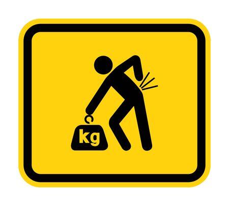 Lifting Hazard Symbol Sign, Vector Illustration, Isolate On White Background Label Vetores