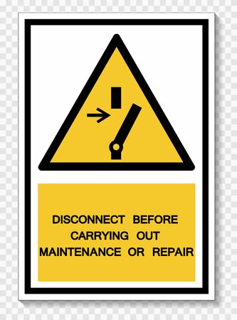 PPE Icon.Disconnect Before Carrying Out Maintenance Or Repair Symbol Sign Isolate On White Background,Vector Illustration EPS.10