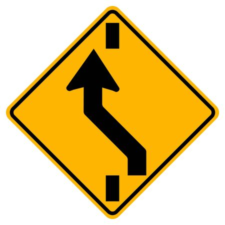 Warning signs Shift to left carriageway on white background