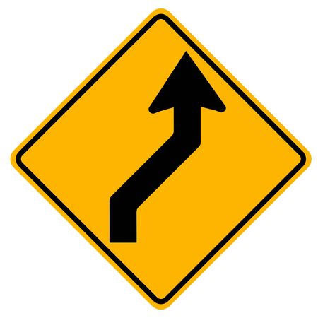 Warning signs Double curve, first to right on white background  Illustration