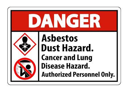 Danger Safety Label,Asbestos Dust Hazard, Cancer And Lung Disease Hazard Authorized Personnel Only  Illusztráció