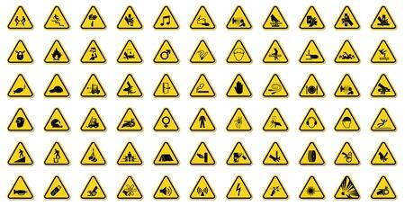 Warning Hazard Symbols labels Sign Isolate on White Background,Vector Illustration