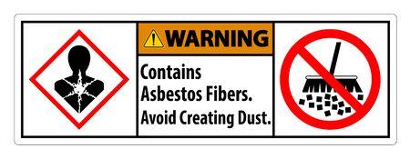 Warning Label Contains Asbestos Fibers,Avoid Creating Dust Vector Illustration
