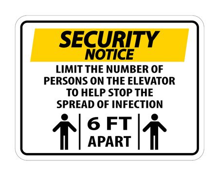 Security Notice Elevator Physical Distancing Sign Isolate On White Background,Vector Illustration  イラスト・ベクター素材