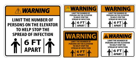 Warning Elevator Physical Distancing Sign Isolate On White Background,Vector Illustration