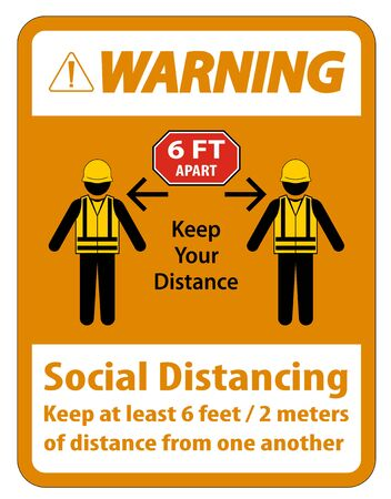 Warning Social Distancing Construction Sign Isolate On White Background,Vector Illustration  イラスト・ベクター素材