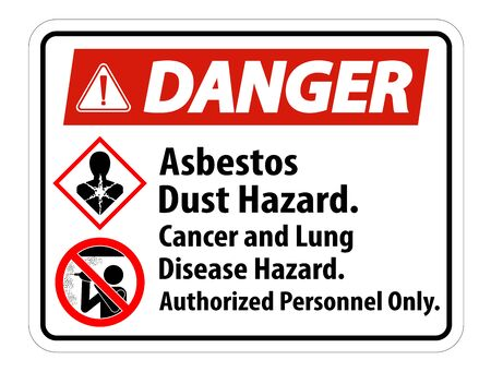 Danger Safety Label,Asbestos Dust Hazard, Cancer And Lung Disease Hazard Authorized Personnel Only