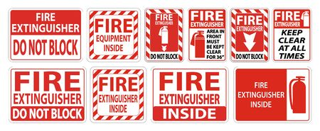 Set label Fire extinguisher Sign on white background  イラスト・ベクター素材