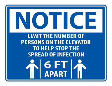 Notice Elevator Physical Distancing Sign Isolate On White Background,Vector Illustration