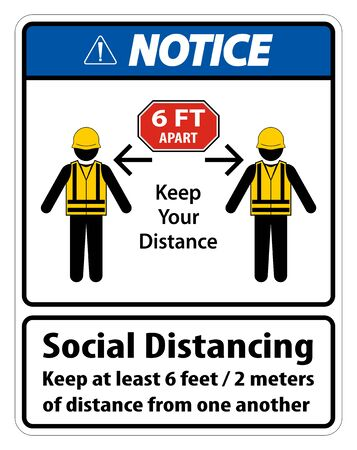 Notice Social Distancing Construction Sign Isolate On White Background,Vector Illustration  イラスト・ベクター素材