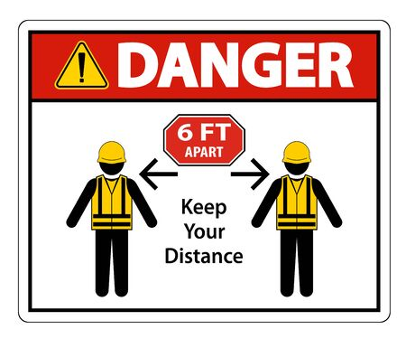 Danger Social Distancing Construction Sign Isolate On White Background,Vector Illustration EPS.10