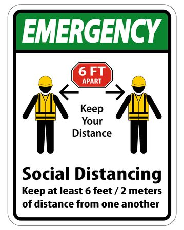 Emergency Social Distancing Construction Sign Isolate On White Background,Vector Illustration EPS.10   イラスト・ベクター素材