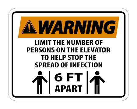 Warning Elevator Physical Distancing Sign Isolate On White Background,Vector Illustration EPS.10