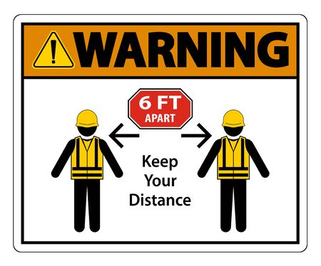 Warning Social Distancing Construction Sign Isolate On White Background,Vector Illustration EPS.10   イラスト・ベクター素材