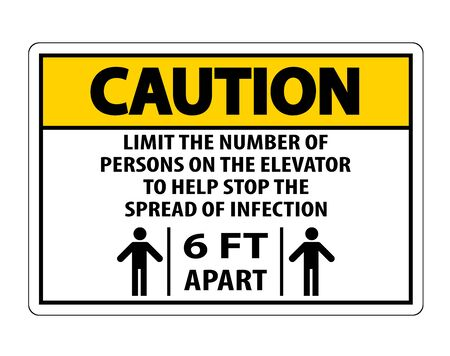 Caution Elevator Physical Distancing Sign Isolate On White Background,Vector Illustration EPS.10