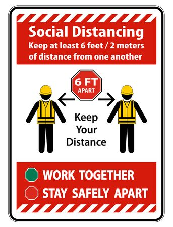 Social Distancing Construction Sign Isolate On White Background,Vector Illustration