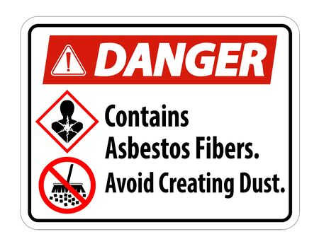Danger Label Contains Asbestos Fibers,Avoid Creating Dust   イラスト・ベクター素材