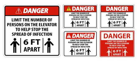 Danger Elevator Physical Distancing Sign Isolate On White Background,Vector Illustration