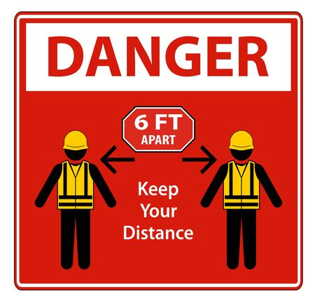 Danger Social Distancing Construction Sign Isolate On White Background,Vector Illustration