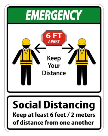 Emergency Social Distancing Construction Sign Isolate On White Background,Vector Illustration  イラスト・ベクター素材