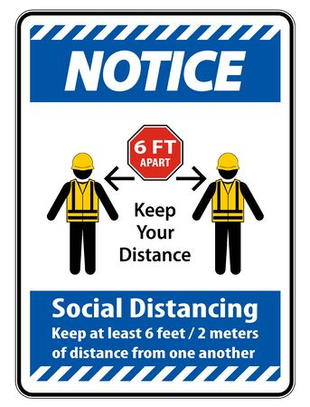 Notice Social Distancing Construction Sign Isolate On White Background,Vector Illustration