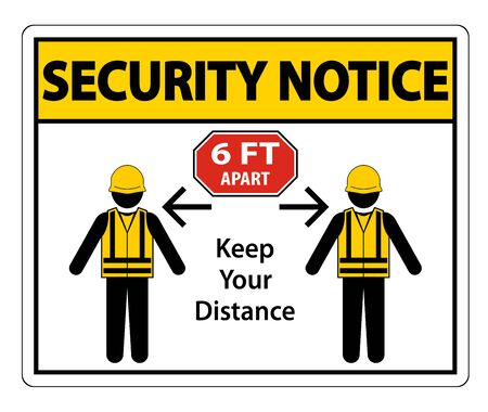 Security Notice Social Distancing Construction Sign Isolate On White Background,Vector Illustration  イラスト・ベクター素材