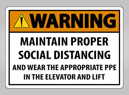 Warning Maintain Proper Social Distancing Sign Isolate On White Background,Vector Illustration  イラスト・ベクター素材