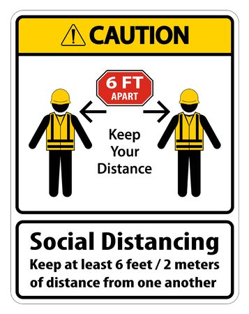 Caution Social Distancing Construction Sign Isolate On White Background,Vector Illustration