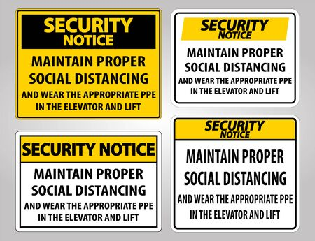 Security Notice Maintain Proper Social Distancing Sign Isolate On White Background,Vector Illustration
