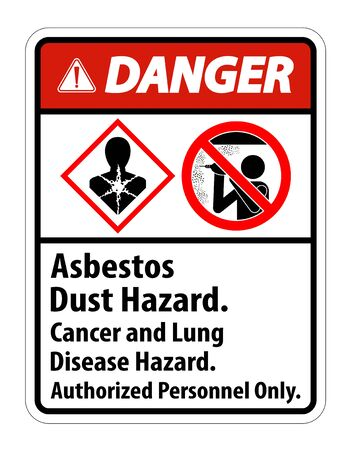 Danger Safety Label,Asbestos Dust Hazard, Cancer And Lung Disease Hazard Authorized Personnel Only Vector Illustration