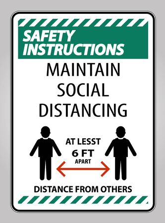 Safety Instructions Maintain Social Distancing At Least 6 Ft Sign On White Background,Vector Illustration