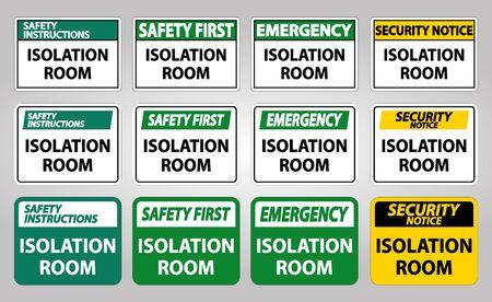 Set Isolation room Sign Isolate On White Background,Vector Illustration EPS.10 Vector Illustratie