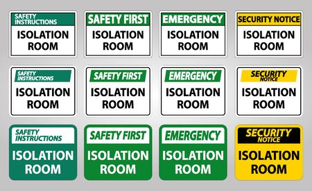 Set Isolation room Sign Isolate On White Background,Vector Illustration EPS.10 Vetores