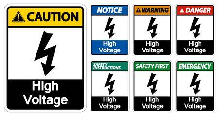 High voltage Sign Isolate On White Background,Vector Illustration EPS.10  Illustration